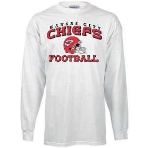 Reebok Kansas City Chiefs White Stacked Helmet Long Sleeve T shirt