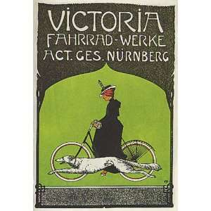 VICTORIA WOMAN DOG BICYCLE BIKE CYCLES VINTAGE POSTER REPRO