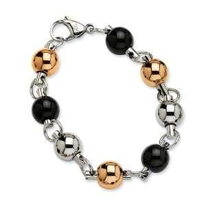 Steel Rose Gold & IP Black Plated 8in Bracelet Size 8 Jewelry