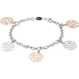 Silver 08.00 Inch Rose Gold Plated Silver Fashion Bracelet Jewelry