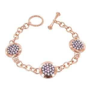 Rose Gold over Sterling Silver Pink Cubic Zirconia Fashion Bracelets