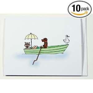 Sassy Cat and Bad Dog Row Boat Blank Note Card Boxed Set