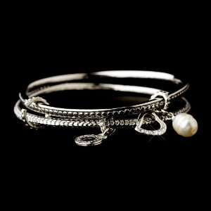 Silver Circle Heart Crystal Pearl Charm Bracelet Jewelry