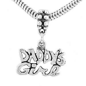 Sterling Silver One Sided Daddys Girl Dangle Bead Charm