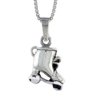 925 Sterling Silver Roller Skates Pendant (w/ 18 Silver Chain), 13/16