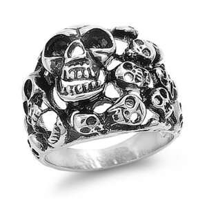Stainless Steel Multiple Skull Biker Ring Size 15 Jewelry