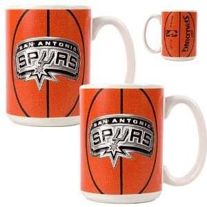 San Antonio Spurs 2pc Ceramic Gameball Mug Set   Primary Logo