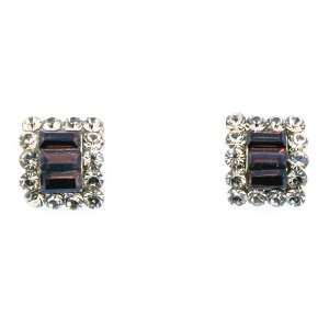 Gold plated Brown Cubic Zirconia Square Stud Earrings Jewelry