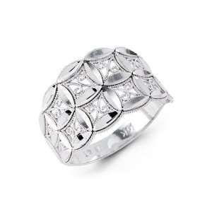New Square Scroll 14k Solid White Gold Fashion Ring Jewelry