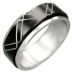 Mission Stainless Steel Black Diamond Cut Spinner Ring
