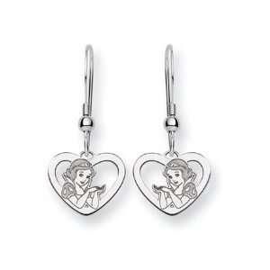 Disneys Snow White Heart, Wire Earrings in Sterling Silver Jewelry