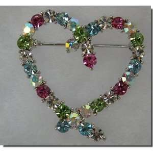 Multi Colored Crystals Heart Pin B3H12