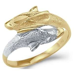 14k Yellow and White Gold Two Dolphins Swim Together Ring Jewelry