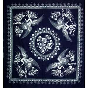 Hand Art Batik Tapestry Tablecloth Blue White Crane: Everything Else