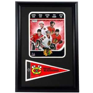 2009 Chicago Blackhawks Photograph with Team Pennant in a