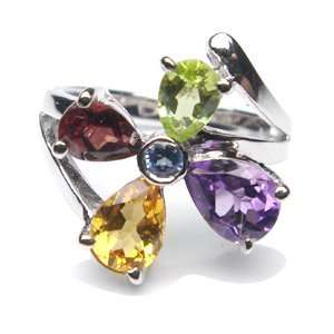 Crystal Flowers Ring   Large