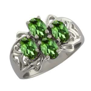 1.60 Ct Oval Green Tourmaline 14k White Gold Ring Jewelry
