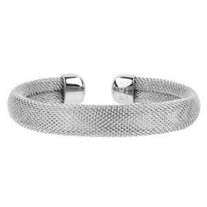 Steel Mesh Bangle Bracelet In a Three Piece Row Shape: Inox: Jewelry