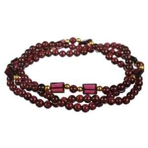 3 Row Round Rectangle Garnet Gold Over Silver Stretch Bracelet