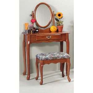 Oak Vanity & Stool Set (Vanity Table, Bench, & Mirror