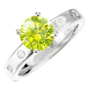 4 Prong Shoulder Set Engagement 14K White Gold Ring with