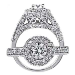 14k White Gold Round Cut Diamond Engagement Ring Vintage Style (0.92