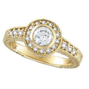 Diamond Bezel Set Antique Style Ring 14k Yellow Gold (0