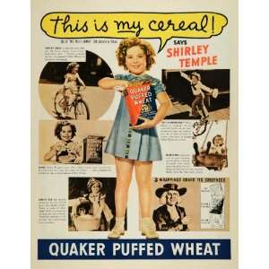 1937 Ad Quaker Puffed Wheat Cereal Shirley Temple