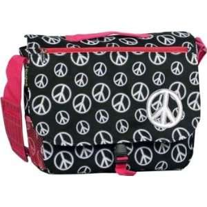 Peace and Hot Pink Messenger Bag Peace Symbol S