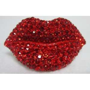 NEW Red Crystal Kiss Lips Adjustable Ring, Limited