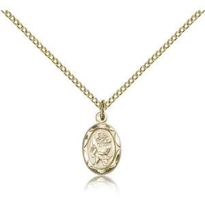 Gold Filled St. Saint Christopher Medal Pendant 1/2 x 1/4