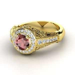 Primrose Ring, Round Red Garnet 14K Yellow Gold Ring with