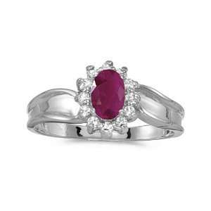 14k White Gold Oval Ruby And Diamond Ring (Size 4.5) Jewelry