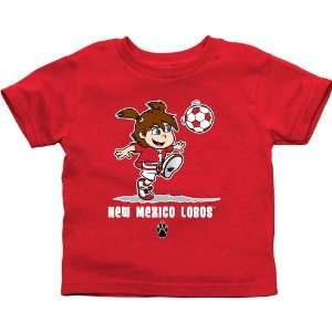 New Mexico Lobos Toddler Girls Soccer T Shirt   Cherry