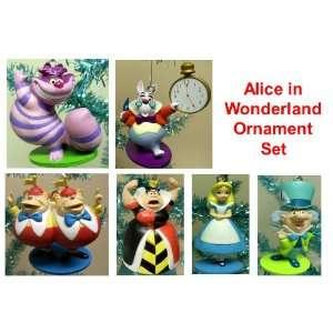 Disney Alice in Wonderland Holiday Christmas Tree Ornaments Set of 6