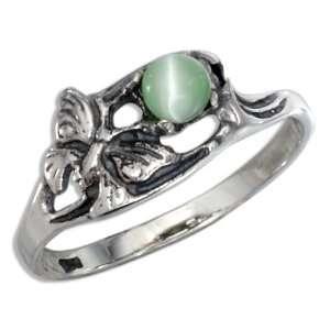 Sterling Silver Green Cat Eye Butterfly Ring (size 05