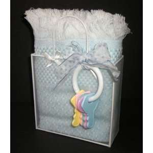 Blue Baby Boy Blanket & Rattle Gift Set / Basket