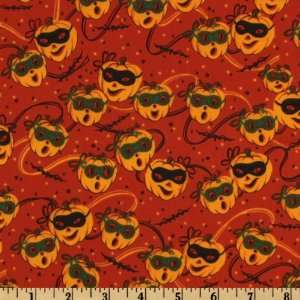 44 Wide Trick or Treat Parade Masked Pumpkin Orange Fabric By The