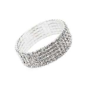 Five Row Clear Crystal Stretch Bracelet Fashion Jewelry