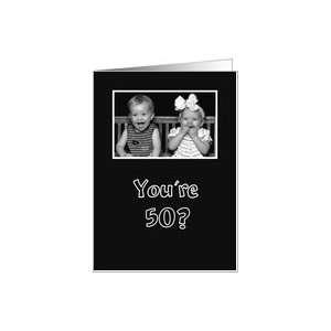 Birthday   little girl and boy laughing funny black and white Card