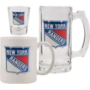 York Rangers Glassware Set 3D Logo Tankard, Coffee Mug, Shot Glass