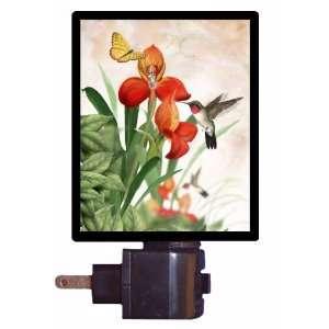 Orchid and Hummingbird Night Light   LED NIGHT LIGHT