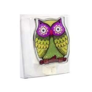 Painted Glass Owl Night Light   Assorted Colors: Home
