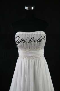 2010 Style Empire Strapless Sweep Train Chiffon Wedding Dress WEM0067