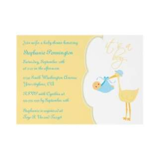 Cute its a boy blue stork baby shower invitation from Zazzle