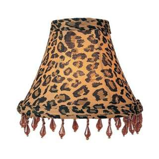 Lighting Leopard Print Silk Chandelier Shade with Amber Beads Decor