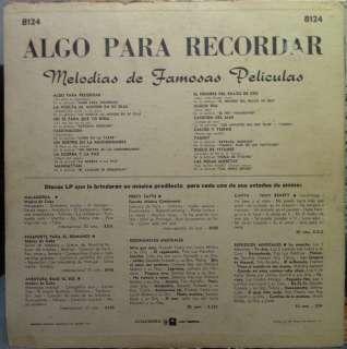 ALVG  O PARA RECORDAR melodias de famosas peliculas LP |