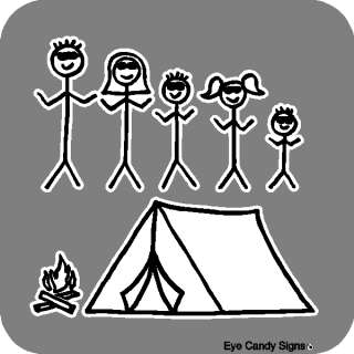 Camping Family Stick People Car Decals Stickers