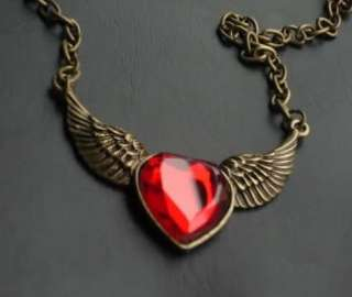 Angel Wing Red Ruby Heart Pendant Fashion Necklace P292