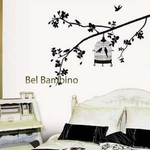 LARGE BLACK BIRD CAGE   Removable Wall Stickers Decals